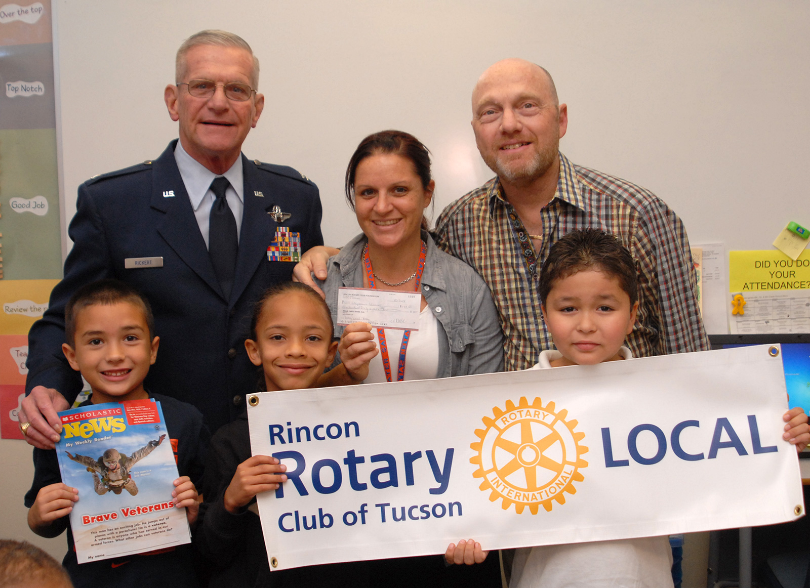 The Rincon Rotary Club of Tucson gave a Bloom Elementary School second grade class a subscription to Scholastic News.